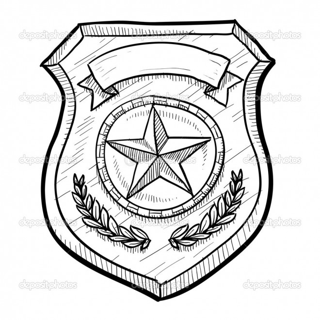 Coloriage et dessins gratuits badge de police américain à imprimer