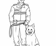 Coloriage Chien policier et officier
