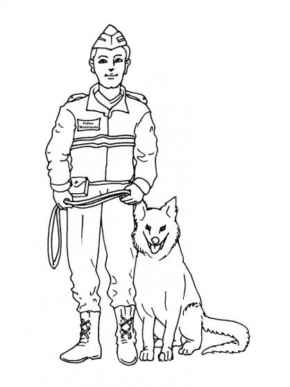 Coloriage chien policier et officier dessin gratuit imprimer - Dessin de police ...