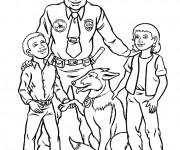 Coloriage Chien policier et officier avec deux enfants