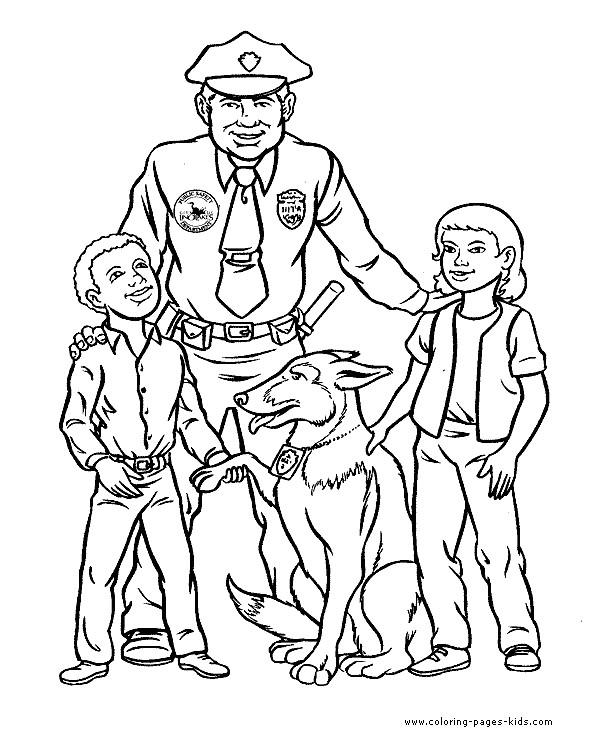 Coloriage et dessins gratuits Chien policier et officier avec deux enfants à imprimer