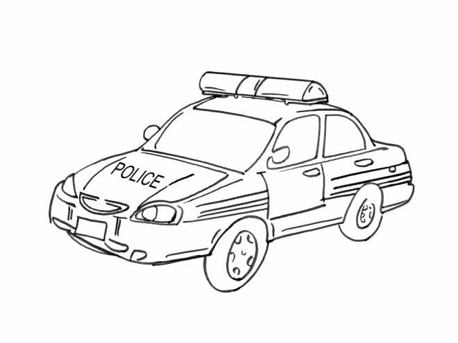 Coloriage et dessins gratuits Dessin voiture de police à imprimer