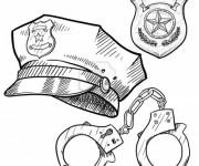 Coloriage et dessins gratuit Equipement de policier à imprimer