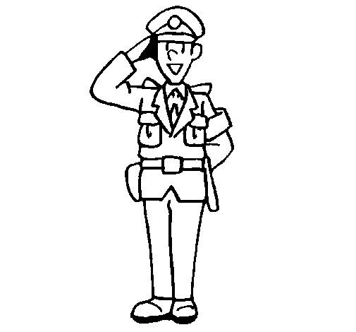 Coloriage et dessins gratuits Le salut d'un policier à imprimer