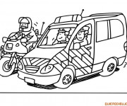 Coloriage Moto et voiture de police