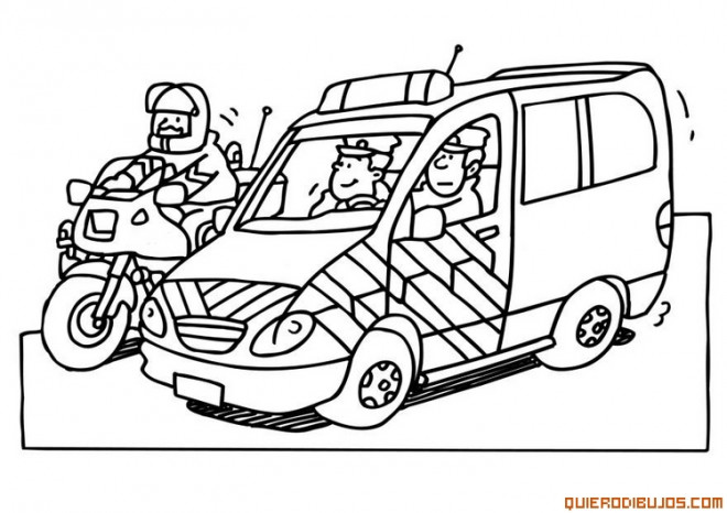 Coloriage moto et voiture de police dessin gratuit imprimer - Dessin voiture de police ...