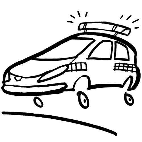 Coloriage et dessins gratuits Petite voiture de police à imprimer