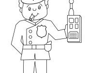 Coloriage Policier avec radio portative dans la main