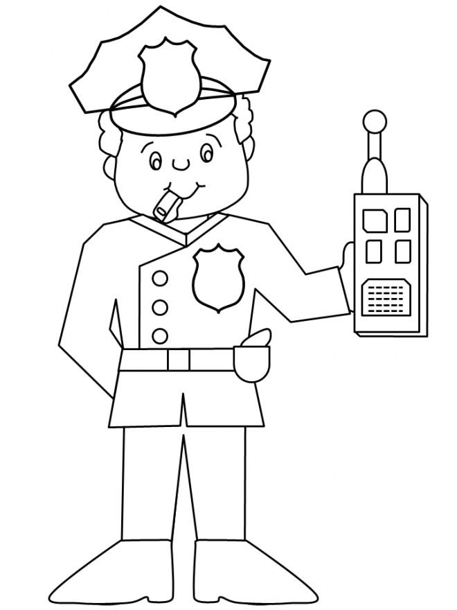 Coloriage et dessins gratuits Policier avec radio portative dans la main à imprimer