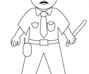 Coloriage Policier avec un matraque dans la main
