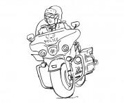 Coloriage Policier porte ses lunettes sur sa moto