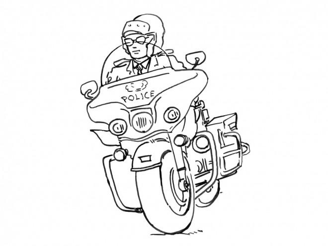 Coloriage et dessins gratuits Policier porte ses lunettes sur sa moto à imprimer