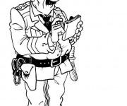 Coloriage Un policier entrain d'exécuter ses devoirs