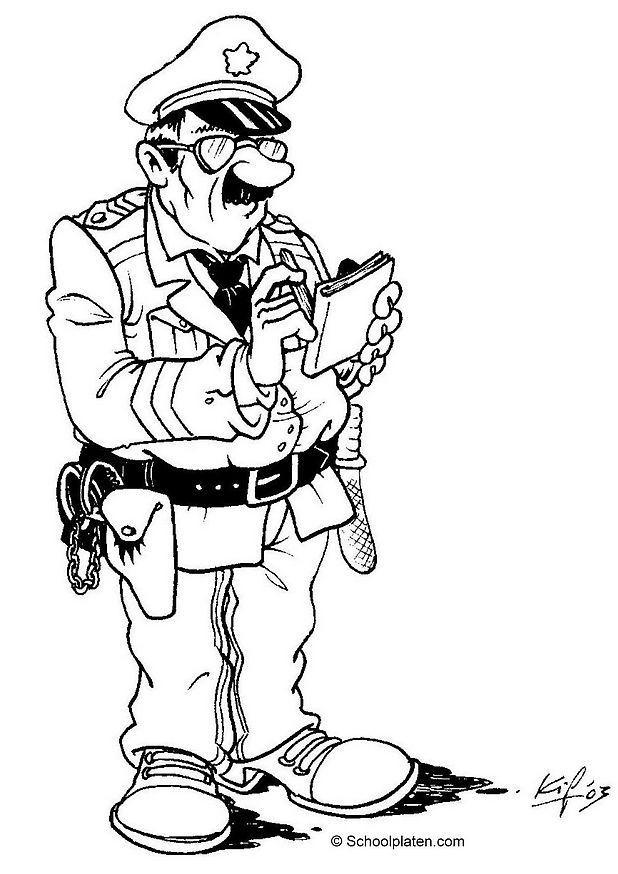Coloriage et dessins gratuits Un policier entrain d'exécuter ses devoirs à imprimer