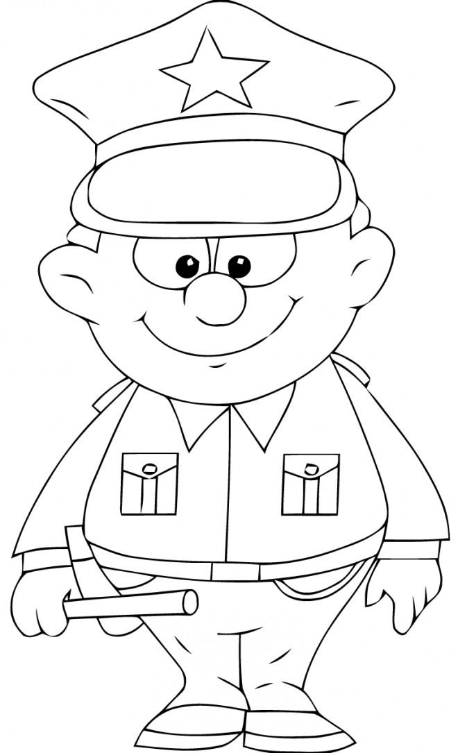 Coloriage un policier porte un uniforme am ricaine - Dessin de police ...