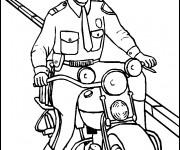Coloriage Un policier sur moto