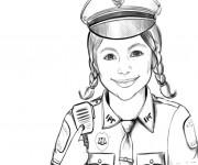 Coloriage Un portrait d'une policière