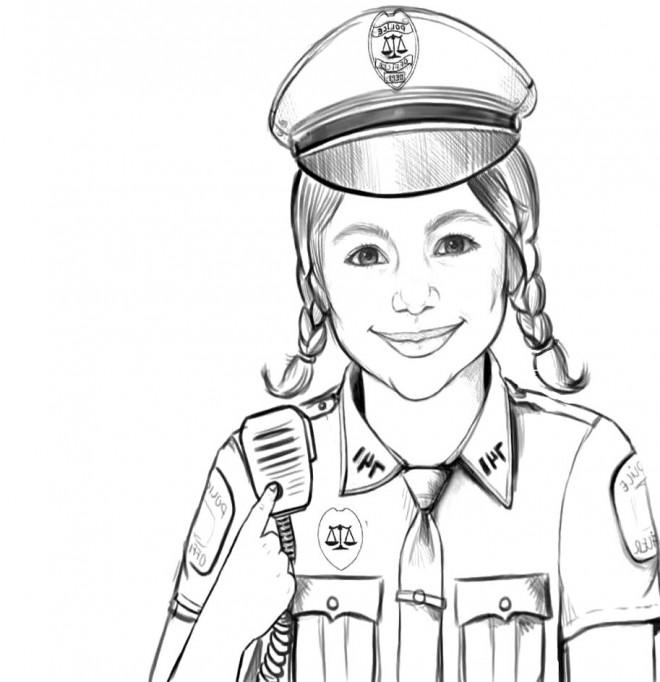 Coloriage et dessins gratuits Un portrait d'une policière à imprimer
