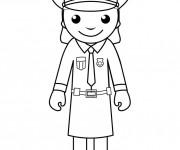 Coloriage Une policière américaine porte un jupe