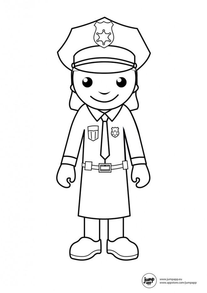 Coloriage et dessins gratuits Une policière américaine porte un jupe à imprimer