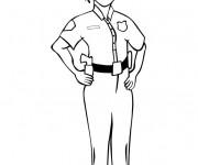 Coloriage Une policière en uniforme