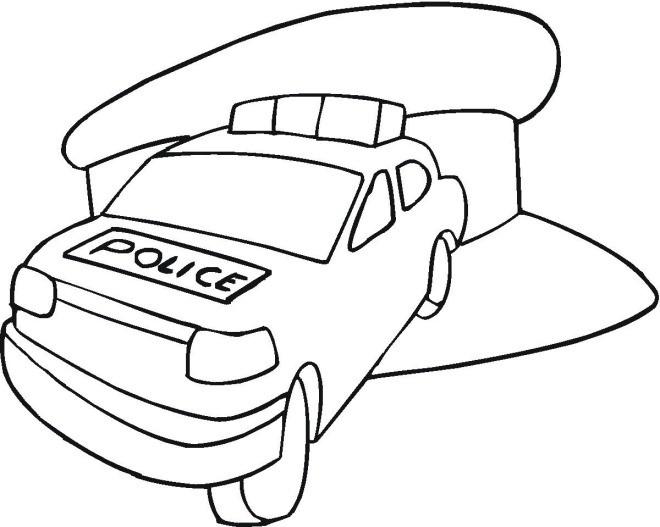 Coloriage et dessins gratuits Voiture de police avec le chapeau à imprimer