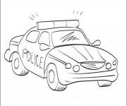 Coloriage Voiture de police en mission