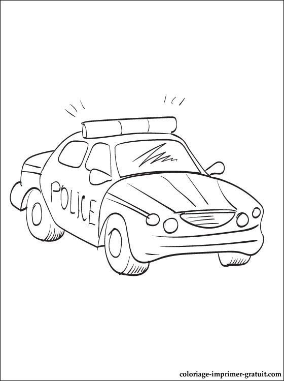 Coloriage et dessins gratuits Voiture de police en mission à imprimer