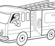 Coloriage et dessins gratuit Camion de Pompier en couleur à imprimer