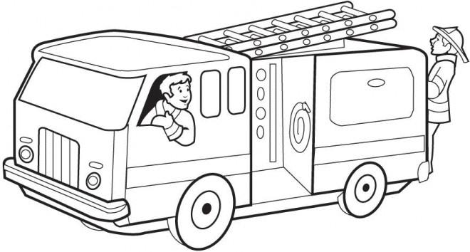 Coloriage Camion De Pompier En Couleur Dessin Gratuit A Imprimer
