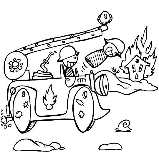 Coloriage et dessins gratuits Camion Pompier drôle à imprimer