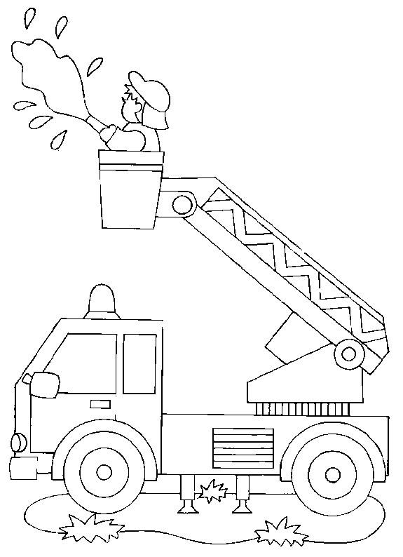 Coloriage camion pompier en mission dessin gratuit imprimer - Dessin pompier facile ...