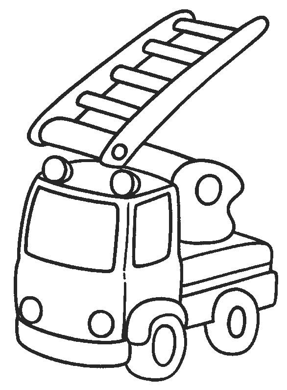 Coloriage Camion Pompier Et Grande Echelle