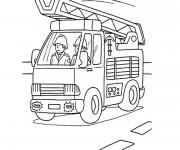 Coloriage et dessins gratuit Camion Pompier facile à imprimer