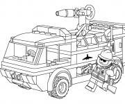 Coloriage et dessins gratuit Camion Pompier Lego City à imprimer