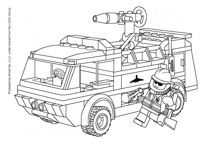 Coloriage et dessins gratuits Camion Pompier Lego City à imprimer