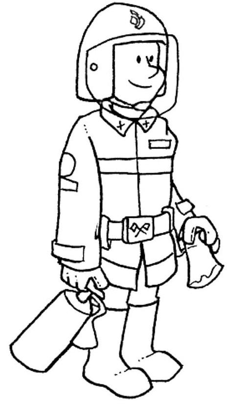 Coloriage et dessins gratuits Le Pompier équipé à imprimer
