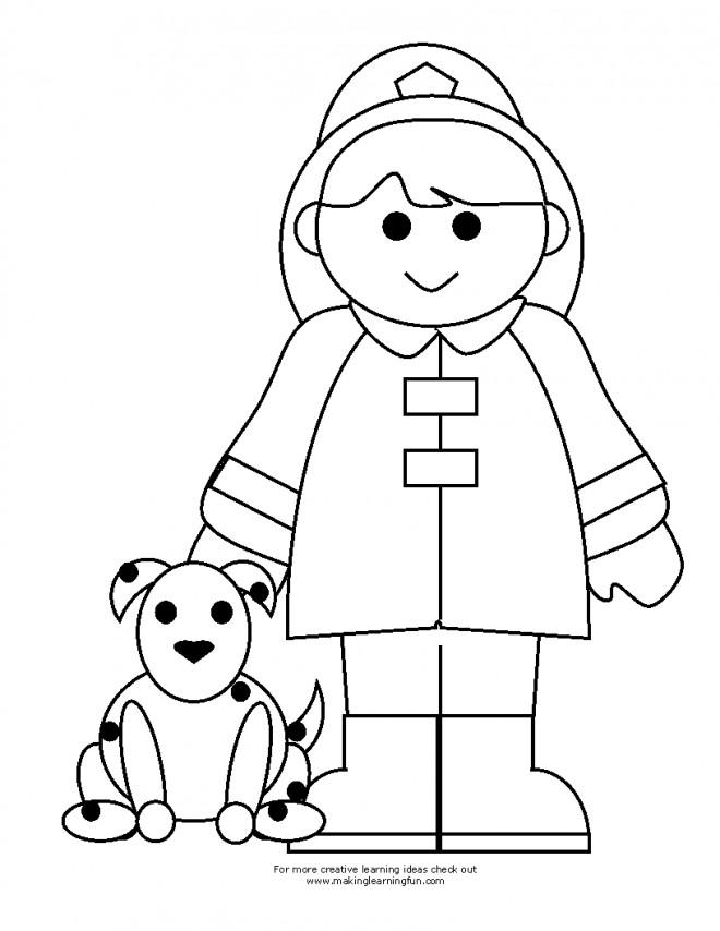 Coloriage et dessins gratuits Petite Fille Pompier à imprimer