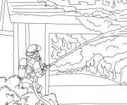 Coloriage Pompier à colorier