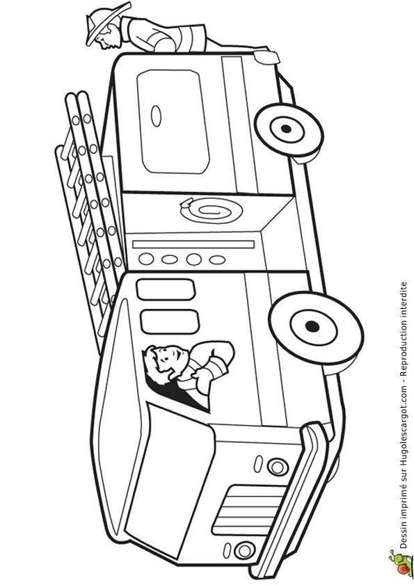 Coloriage et dessins gratuits Pompier Camion en téléchargement à imprimer