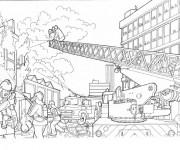 Coloriage et dessins gratuit Pompier combat le Feu à imprimer