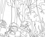 Coloriage et dessins gratuit Pompier et L'incendie à imprimer