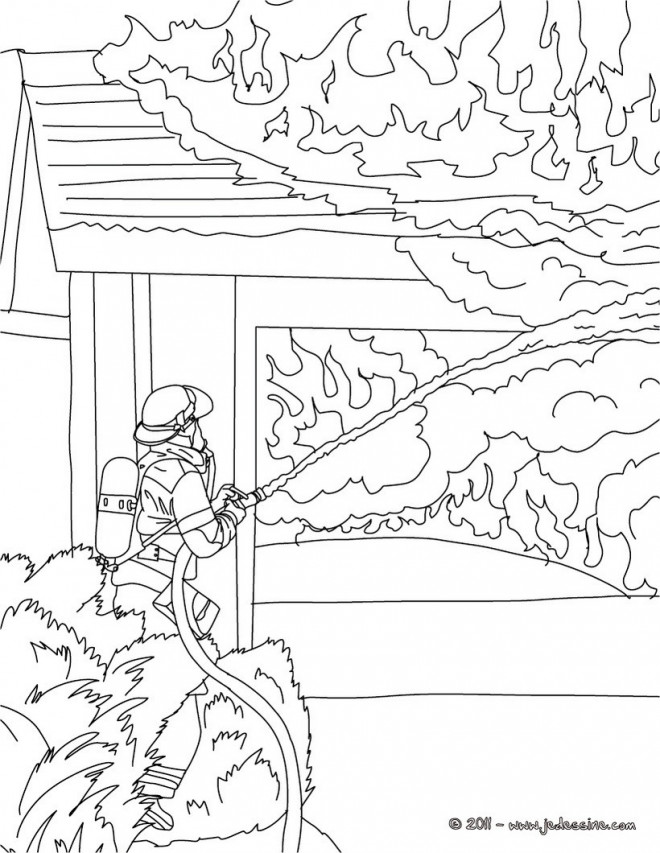 Coloriage Pompier Et Maison En Feu Dessin Gratuit à Imprimer