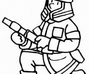 Coloriage et dessins gratuit Pompier éteint Le Feu à imprimer
