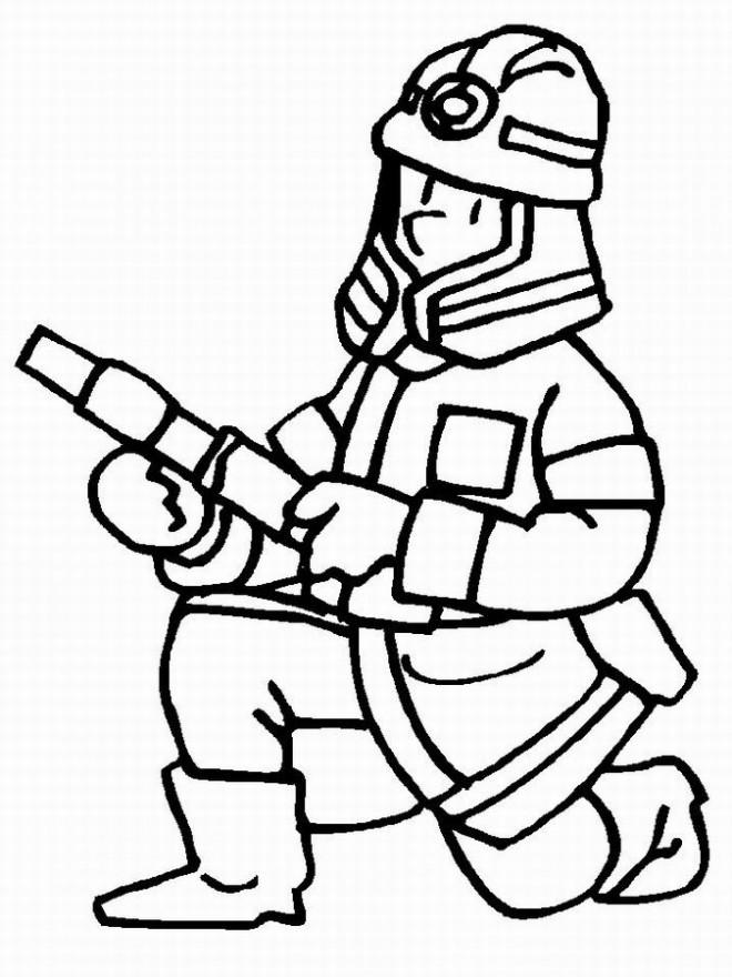 Coloriage et dessins gratuits Pompier éteint Le Feu à imprimer