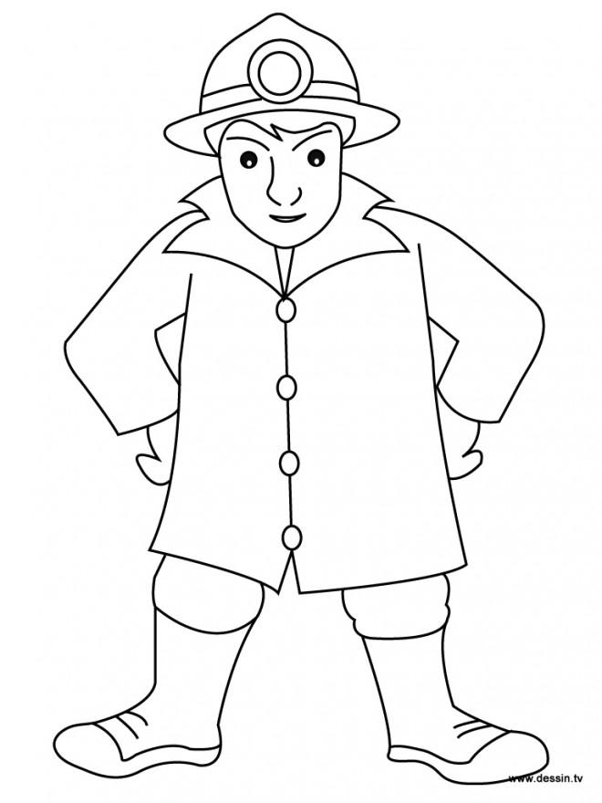 Coloriage et dessins gratuits Pompier facile en noir et blanc à imprimer