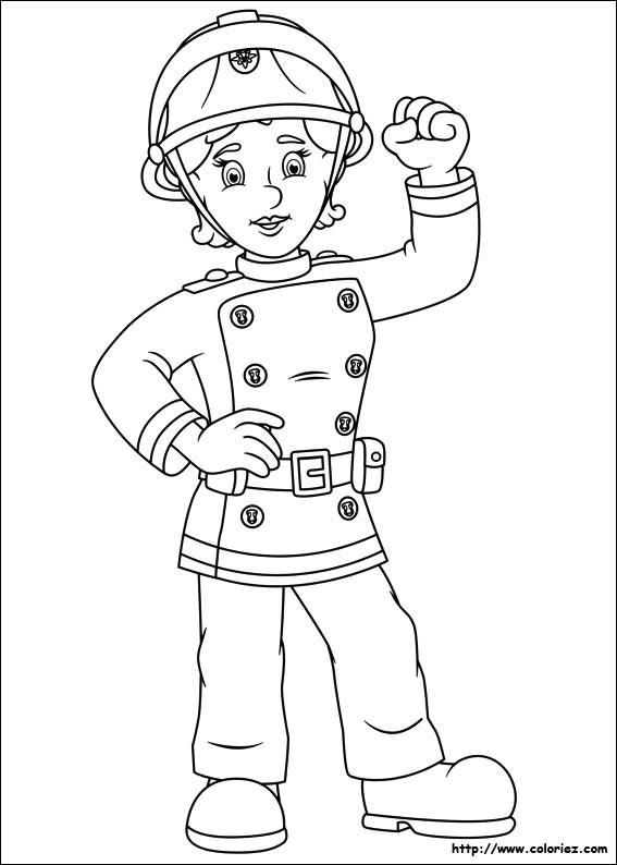 Coloriage et dessins gratuits Pompier Femme à imprimer