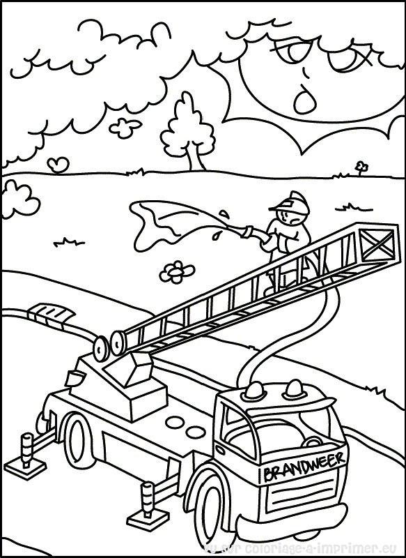 Coloriage et dessins gratuits Pompier monte sur L'échelle à imprimer