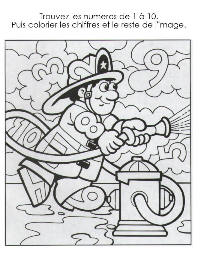 Coloriage et dessins gratuits Pompier numéroté Magique à imprimer