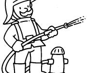 Coloriage et dessins gratuit Pompier pour enfant à imprimer